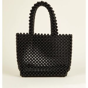 New look black beaded bag
